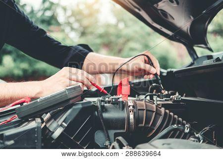 Auto Mechanic Working In Garage Technician Hands Of Car Mechanic Working In Auto Repair Service And