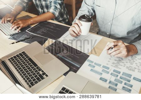 Developing Programmer Team Development Website Design And Coding Technologies Working At Software Co