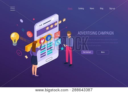 Advertising Campaign. Digital Media Marketing, Online Business, Marketing Research.
