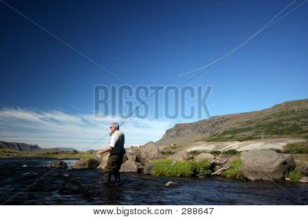 flyfisherman casting in a salmon river poster