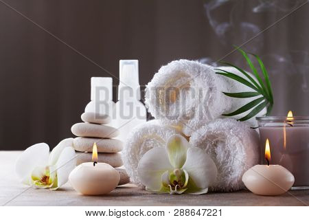 Aromatherapy, Spa, Beauty Treatment And Wellness Background With Massage Pebbles, Orchid Flowers, To