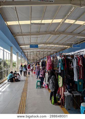 Jakarta, Indonesia - March 1, 2019: Various Merchandise Stalls Open At Tanah Abang Skybridge. Tanah
