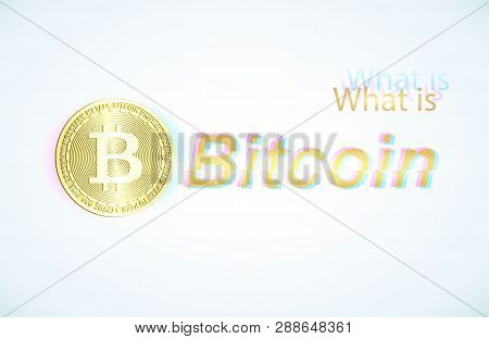 Gold Coin Bitcoin And Light Blue Background . Stock Illustration.