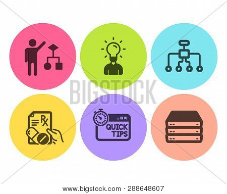 Restructuring, Education And Quick Tips Icons Simple Set. Prescription Drugs, Algorithm And Servers