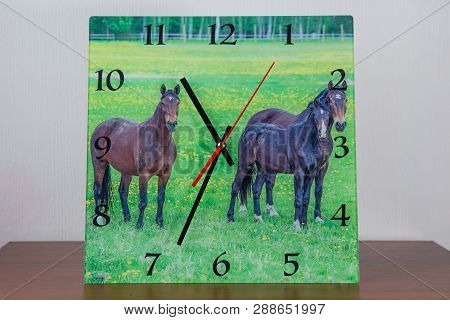 Hand Made Glass Clock With Nature Photo From Latvia. Exclusive And Original. Art Photo 2019.
