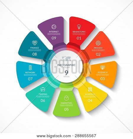 Vector Infographic Circle. Cycle Diagram With 9 Options. Round Chart That Can Be Used For Report, Bu