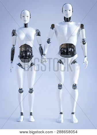 3d Rendering Of A Male And A Female Robot Standing Beside Each Other And Holding Hands. Futuristic L