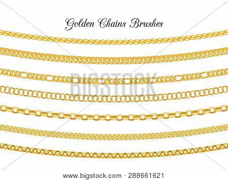 Golden Chains Brushes. Gold Metal Chain Borders Isolated On White Background, Vector Necklace Chains