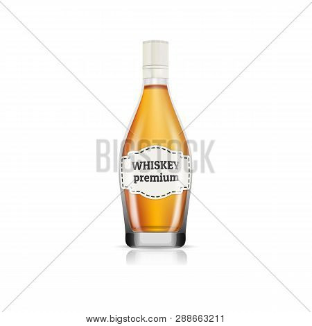Premium Whisky Bottle Icon. Realistic Illustration Of Premium Whisky Bottle Vector Icon For Web Desi