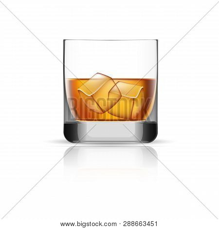 Whisky Glass Ice Cubes Icon. Realistic Illustration Of Whisky Glass Ice Cubes Vector Icon For Web De