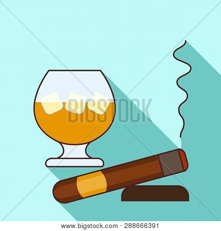 Glass Of Whisky Icon. Flat Illustration Of Glass Of Whisky Vector Icon For Web Design