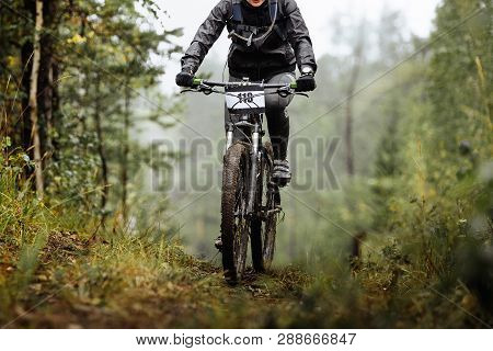 Woman Mountain Biker On Dirty Cycle Riding Uphill Forest Trail
