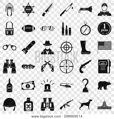 Weapon Icons Set. Simple Style Of 36 Weapon Vector Icons For Web For Any Design
