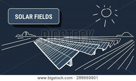 Solar Energy Panel Fields Renewable Station Alternative Electricity Source Concept Photovoltaic Dist