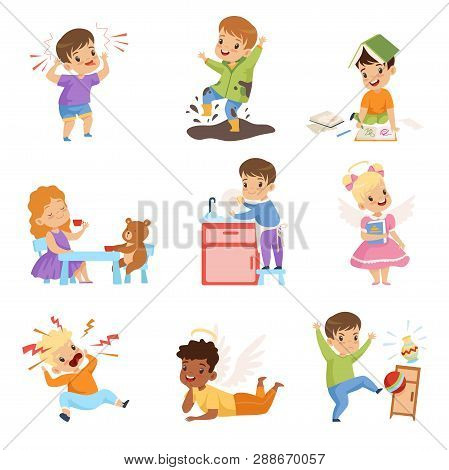 Naughty And Obedient Kids Set, Children With Good Manners And Hooligans Vector Illustration