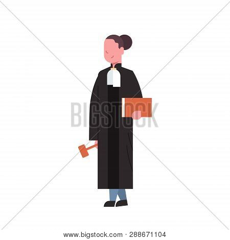 Judge Woman Court Worker In Judicial Robe Holding Book And Hummer Low Justice Professional Occupatio