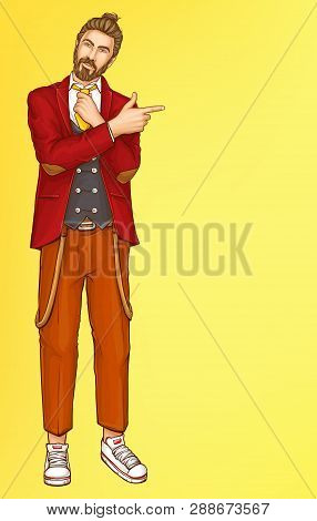 Full-length Portrait Of Attractive Hipster Men In Stylish Red Suit, Lowered Suspenders And Sneakers,