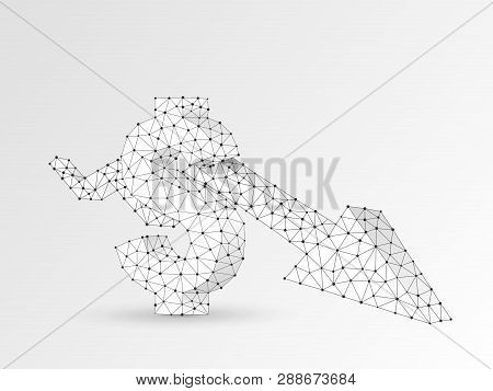 Downtrend Arrow Chart. Business Technological Polygonal Usd Dollar Vector Origami Illustration. Low
