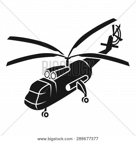 Large Transport Helicopter Icon. Simple Illustration Of Large Transport Helicopter Vector Icon For W