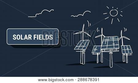 Wind Turbine Solar Energy Panel Fields Renewable Station Alternative Electricity Source Concept Phot