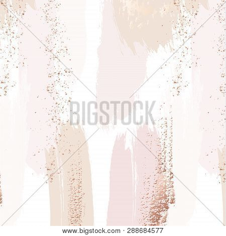 Vector Repetition Pattern In Tender Beige, Pink Colors With Rose Gold Glitters. Vector Grunge Abstra
