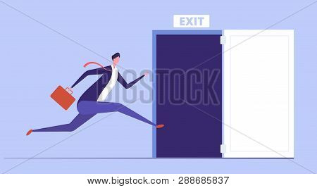 Businessman Run To Open Exit Door. Emergency Escape And Evacuation From Office Vector Business Conce