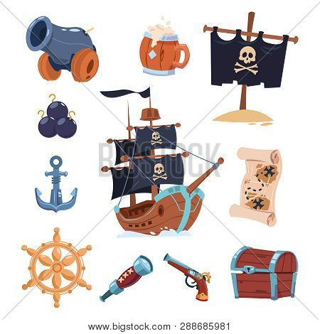 Vector Pirate Paraphernalia Isolated On White Background. Pirate Boat, Skull And Ancho Illustration