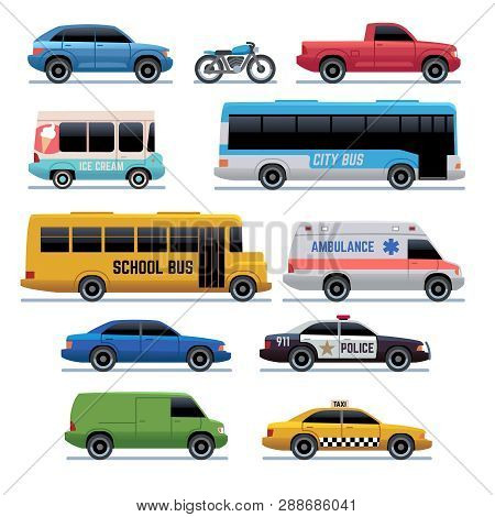 Car Flat Icons. Public City Transport Bus, Cars And Bike, Truck. Vehicle Vector Cartoon Symbols. Tra