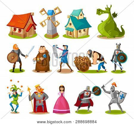 Medieval Characters And Buildings Collection. Cartoon Knights, Princess, King, Dragon, Buildings Etc