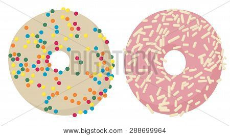 Donuts Top View. Glazed Donuts Or Doughnuts Set, Various Colors And Tastes. Vector Illustration On W