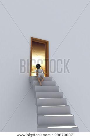 der junge auf der Treppe in der Nähe der Tür.