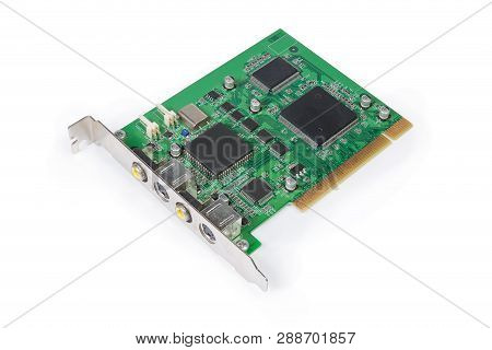 Old Internal Video Capture Card Pci Bus For Converting Analog Video Signal On A White Background