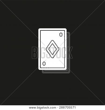 Playing Card Illustration - Casino Symbol - Playing Cards Sign. White Flat Pictogram On Black - Simp