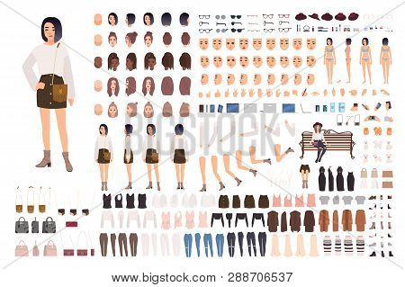 Stylish Young Woman Creation Set Or Animation Kit. Bundle Of Body Parts, Trendy Clothes, Hairstyles,