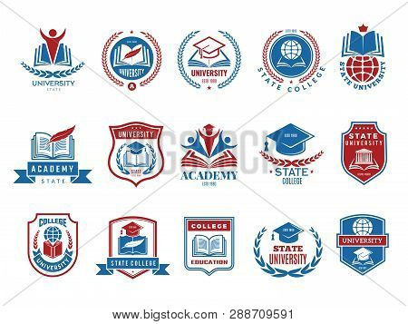 College Emblem. School Or University Badges And Labels Vector Logotype Collection. School Emblem, Co