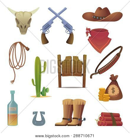 Wild West Icon. Cowboys Country Western Symbols Saloon Boots Rodeo Lasso Vector Cartoon Collection.