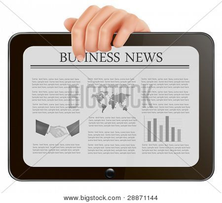Hand holding digital tablet pc with business news. Vector illustration