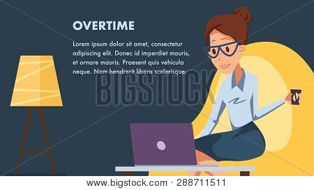Businesswoman With Laptop In Comfortable Office. Female Clerk Character Work By Computer. Woman In G