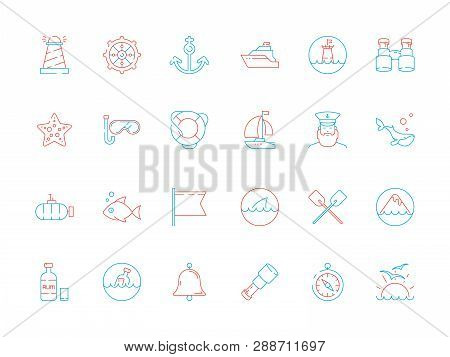 Marine Icon Collection. Nautical Sea Or Ocean Symbols Fish Boat Map Navy Yacht Captain Cap Vector Co