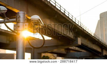 Cctv Surveillance Security Camera Video Equipment Concept - Cctv Surveillance Security Camera On Pol