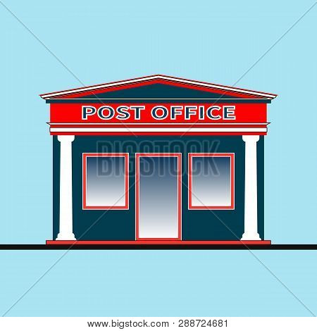 Exterior Of A Modern Post Office. Post Office Building In Trendy Flat Style Isolated. Facade Of The