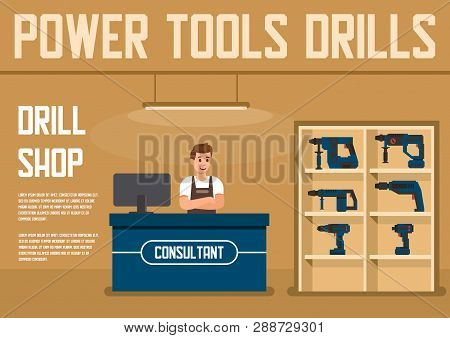 Power Tools For Construction Works Shop Or Store Flat Vector Banner With Smiling Male Consultant Sta