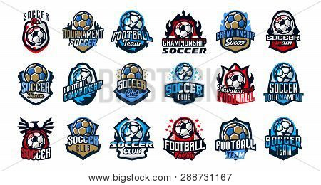 Set Of Football Club Logos, Soccer Ball. Soccer Ball Emblem, Shield. Football School Tournament, Goa