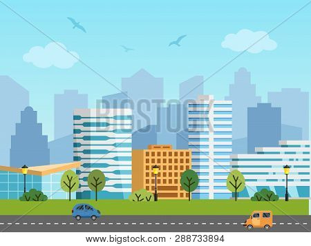 City Urban Vector Landscape, Buildings And Skyscrapers