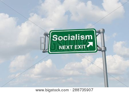 Socialism political ideology and socialist country or social democrat concept as a 3D illustration. poster