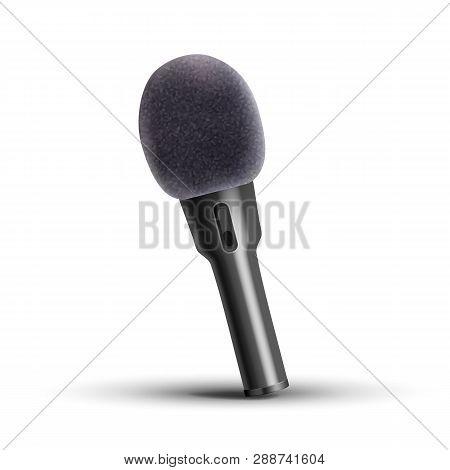 Modern Microphone Vector. Media Stand. Vocal Element. Conference Broadcast. Digital Volume. Illustra
