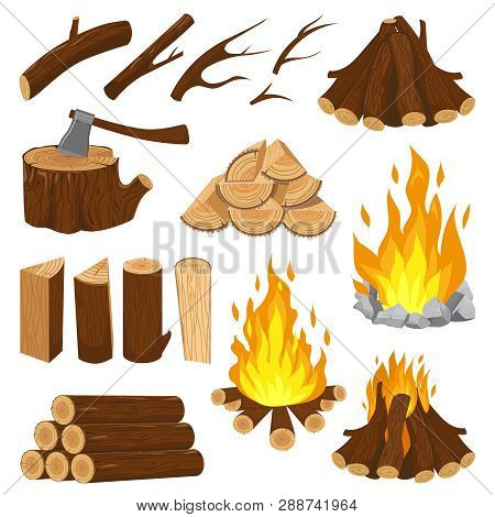 Firewood Boards. Fireplace Fire Wood, Burning Wooden Stack And Blazing Bonfire. Campfire Logging Pil
