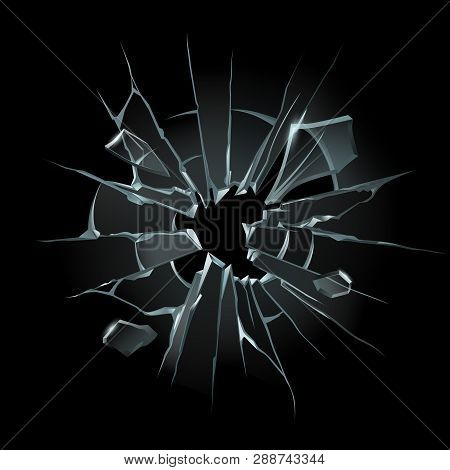 Broken Window Glass. Broken Windshield, Shattered Glass Or Crack Windows. Shards Of Computer Screen