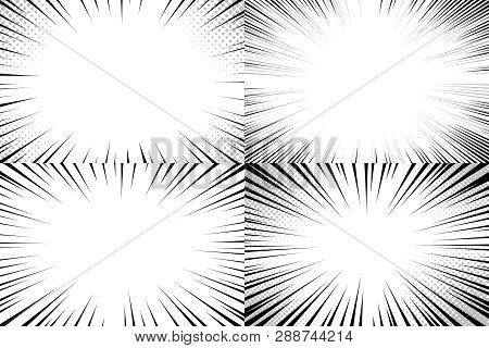 Speed Lines Background. Comic Action Strips, Speedy Line Strips Template And Fast Explosion Manga Or