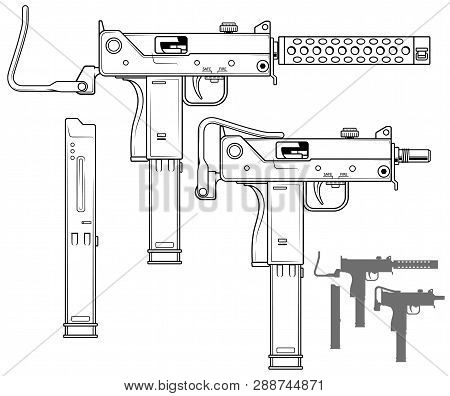 graphic black and white detailed uzi submachine gun with ammo clip and  rifle butt  isolated
